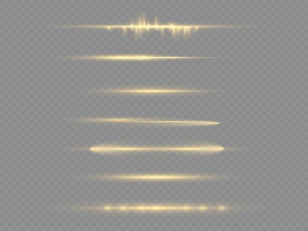 Linha amarela brilhante, feixes de laser, brilho dourado brilhante