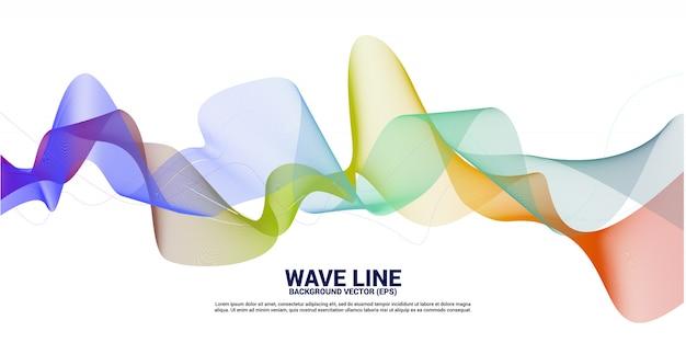 Linha amarela verde roxa curva da onda sadia no fundo branco. elemento para a tecnologia do tema futurista