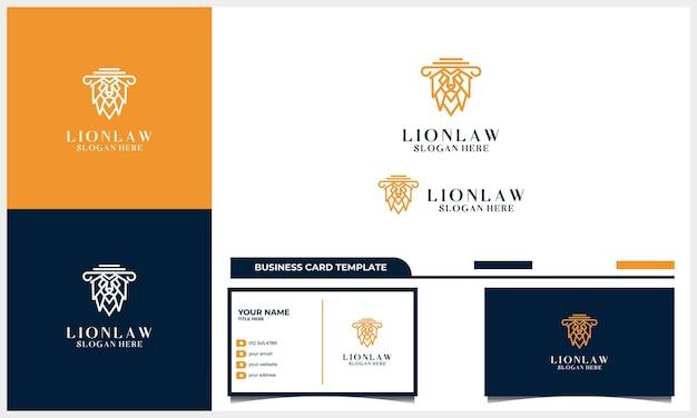 Linha arte cabeça de leão com conceito de design de logotipo de advogado com modelo de cartão de visita