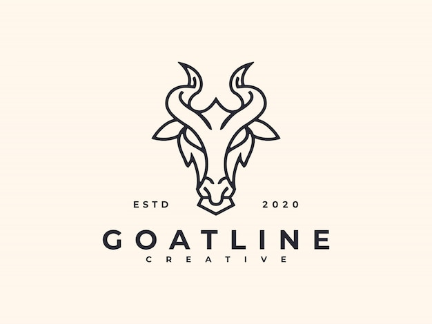 Linha arte cabra design logotipo minimalista criativo