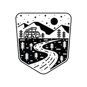 Linha arte de acampamento van aventura da arte da camiseta