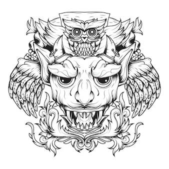 Linha arte de diabos alados e corujas de morte ornamentais