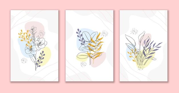 Linha arte flores e folhas conjunto de fundo abstrato b