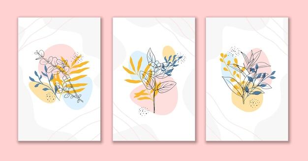 Linha arte flores e folhas conjunto de fundo abstrato c