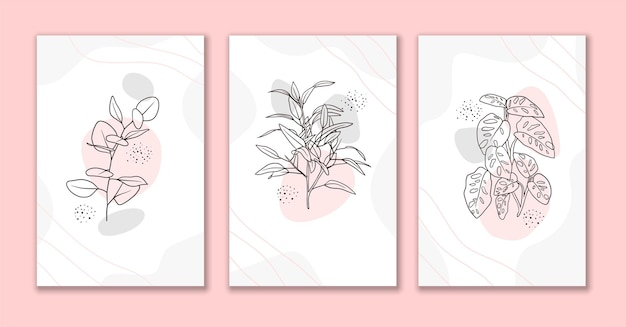 Linha arte flores e folhas conjunto de fundo abstrato d
