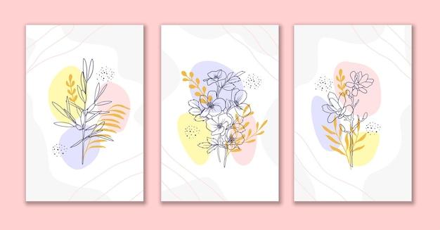 Linha arte flores e folhas de fundo abstrato definir um