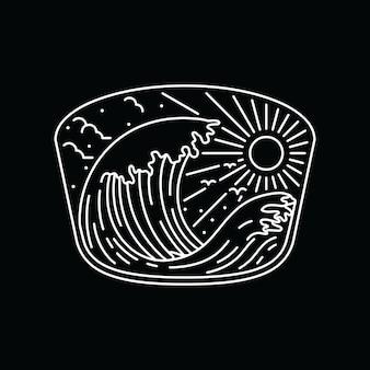 Linha arte gráfica da praia da natureza do verão da camiseta