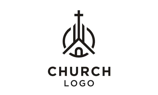 Linha arte igreja / design de logotipo cristão