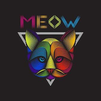 Linha arte ilustração da cabeça de gato