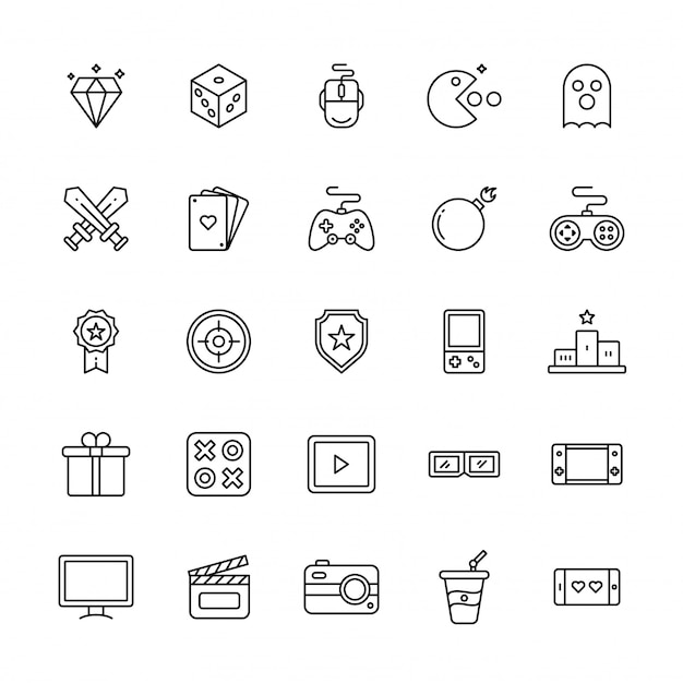 Linha arte ilustração do conjunto de ícones de jogo ou entretenimento.