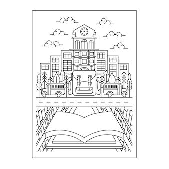 Linha arte ir para a escola e aprender ilustração