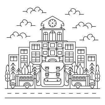 Linha arte ir para escola ilustração