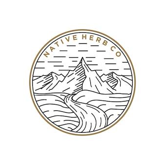 Linha arte logotipo montanha