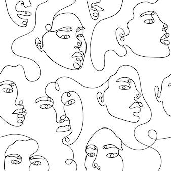 Linha arte mão desenhando padrão sem emenda de mulher abstrata