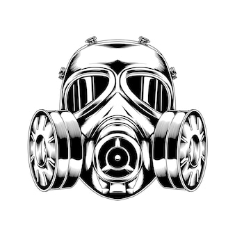 Linha arte máscara de gás 04 tática militar