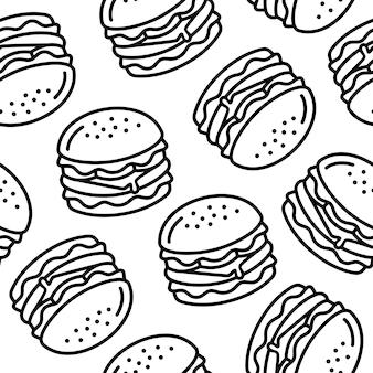 Linha arte padrão sem emenda de hambúrguer de queijo