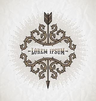 Linha arte tatuagem estilo emblema - quadro de espinhos com raios de seta e sunburst em um fundo de papel amassado