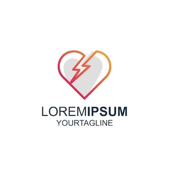 Linha arte trovão amor impressionante inspiração logotipo