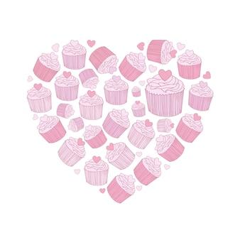 Linha arte vetorial rosa mão desenhada conjunto de itens, símbolos e objetos de doodle de desenhos animados de cupcakes. composição em formato de coração