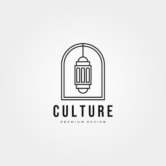 Linha artística do logotipo do emblema da lanterna do ramadã