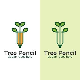 Linha árvore combina lápis logotipo criativo