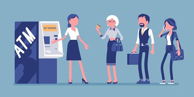 Linha atm e assistente feminina ajudando clientes na ilustração