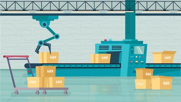 Linha automatizada no conceito de armazém em design plano dos desenhos animados. os pacotes em caixas movem-se na esteira rolante, o braço robótico carrega as caixas para a empilhadeira. serviço de entrega. fundo horizontal da ilustração vetorial