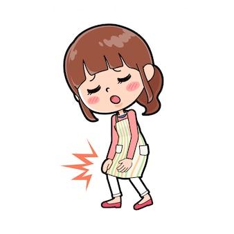 Linha avental mãe dor no joelho