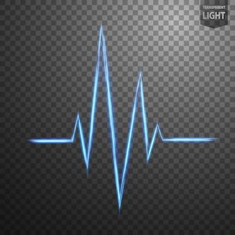 Linha azul abstrata da taxa de coração de ligh