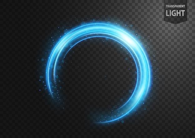 Linha azul abstrata de luz com faíscas azuis