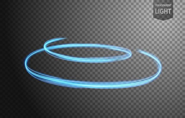 Linha azul abstrata de luz com um fundo transparente
