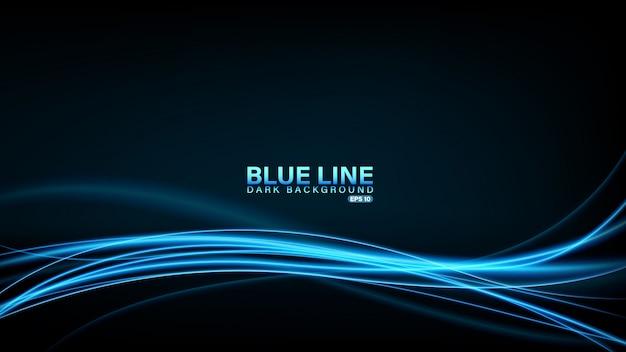 Linha azul de luz em fundo escuro