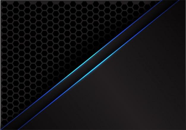 Linha azul fundo cinzento do espaço em branco do teste padrão da malha do hexágono.