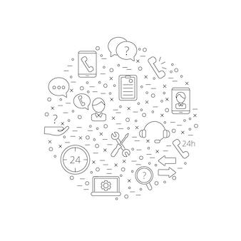 Linha chamada suporte centro ícones na ilustração de forma de círculo