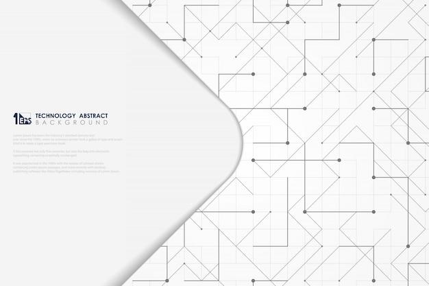 Linha cinza abstrata triângulo geométrico quadrado pontilhado capa mínima de tecnologia.