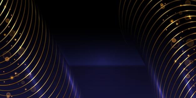 Linha circular dourada com efeito de luz cintilante