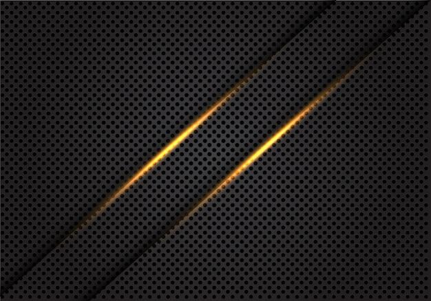 Linha clara do ouro gêmeo no fundo cinzento escuro da malha do círculo.