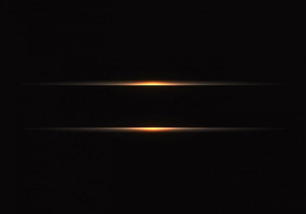 Linha clara do ouro no fundo preto.