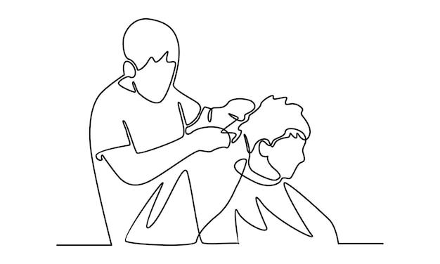 Linha contínua de barbeiro profissional cortando o cabelo de um cliente na ilustração de barbearia