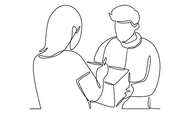 Linha contínua de correio dá um pacote para ilustração de menina