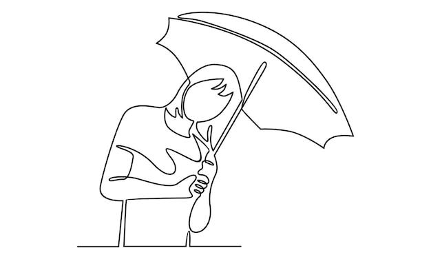 Linha contínua de garota segurando ilustração de guarda-chuva