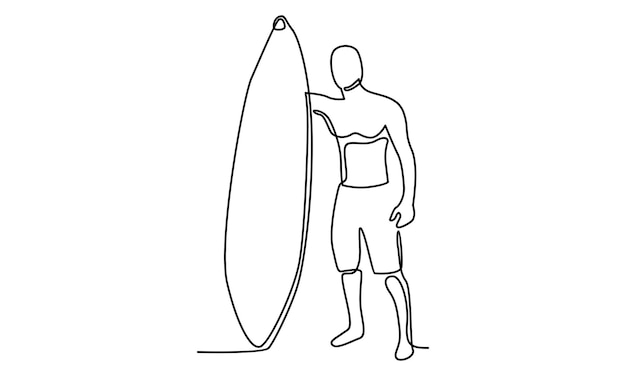 Linha contínua de homem com ilustração de prancha de surf
