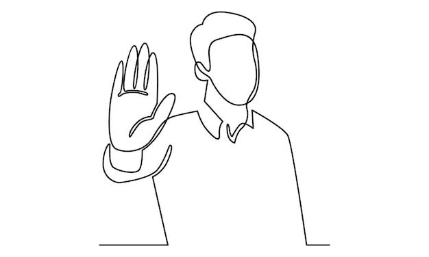 Linha contínua de homem mostrando a palma da mão como ilustração do sinal de stop