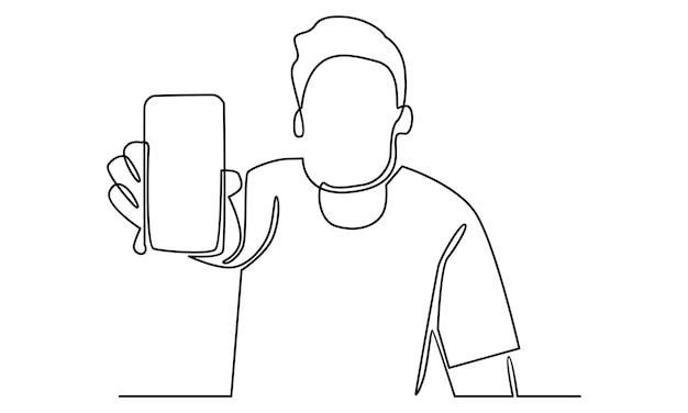 Linha contínua de homem mostrando ilustração de smartphone