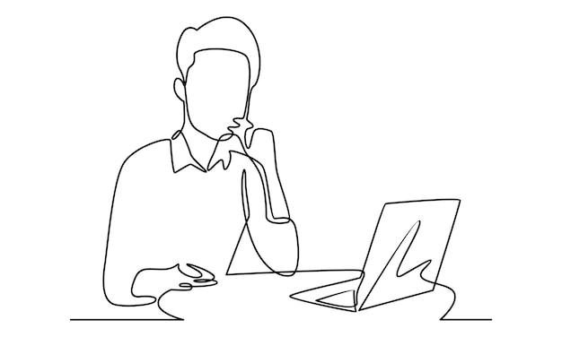 Linha contínua de homem trabalhando com ilustração de laptop