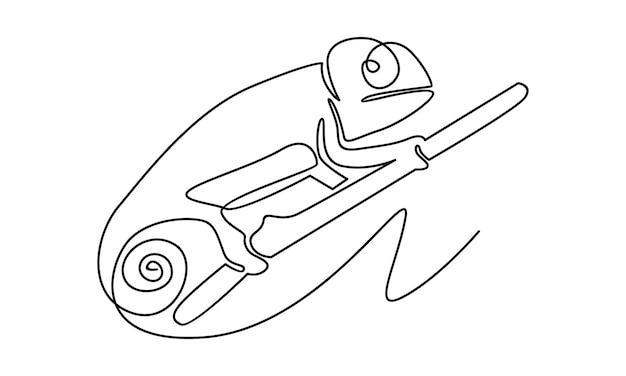 Linha contínua de ilustração camaleônica