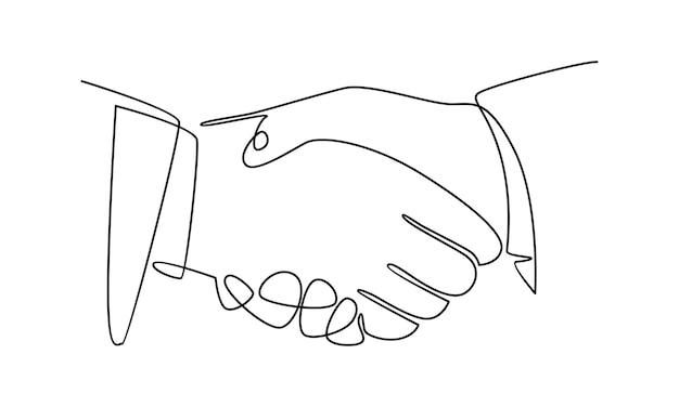 Linha contínua de ilustração de aperto de mão de empresário
