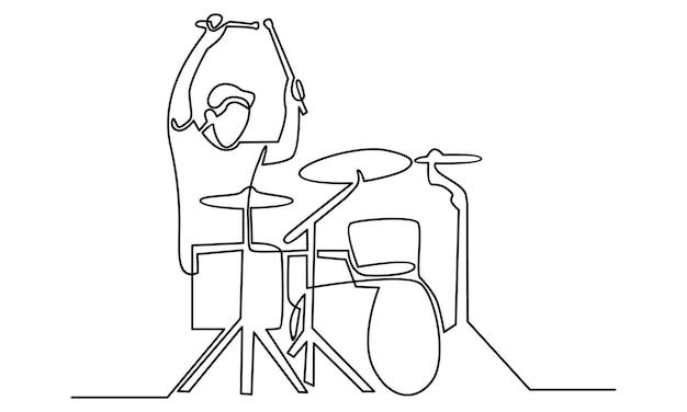 Linha contínua de ilustração de baterista