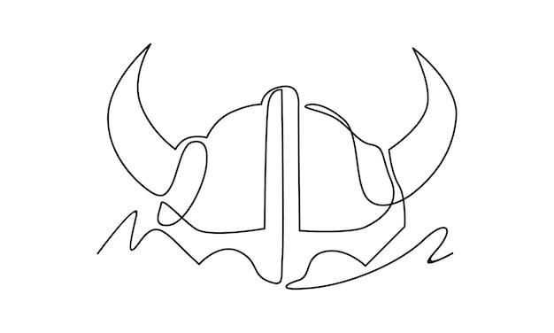 Linha contínua de ilustração de capacete viking