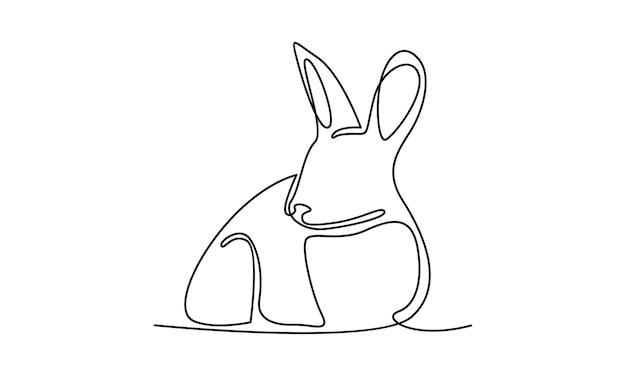 Linha contínua de ilustração de coelho